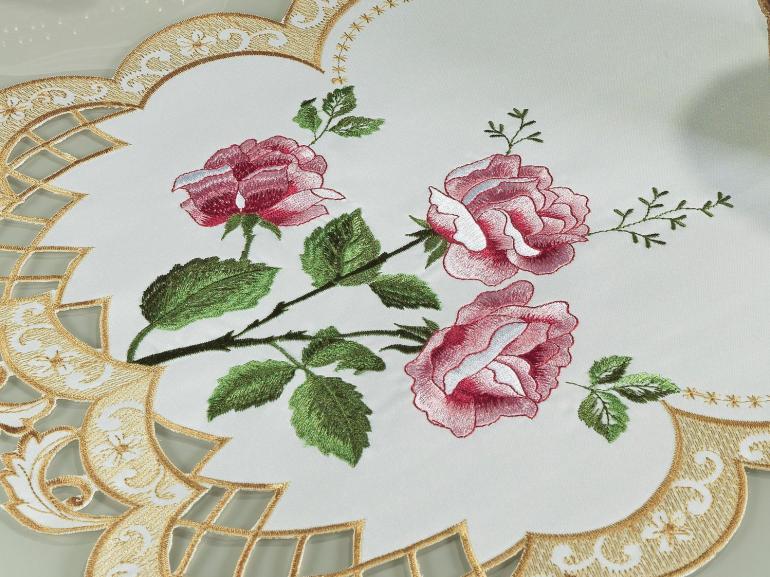 Trilho de Mesa com Bordado Richelieu 40x85cm Avulso - Rosana Natural Rosa - Dui Design