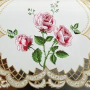 Trilho de Mesa com Bordado Richelieu 45x170cm Avulso - Rosana Natural Rosa - Dui Design