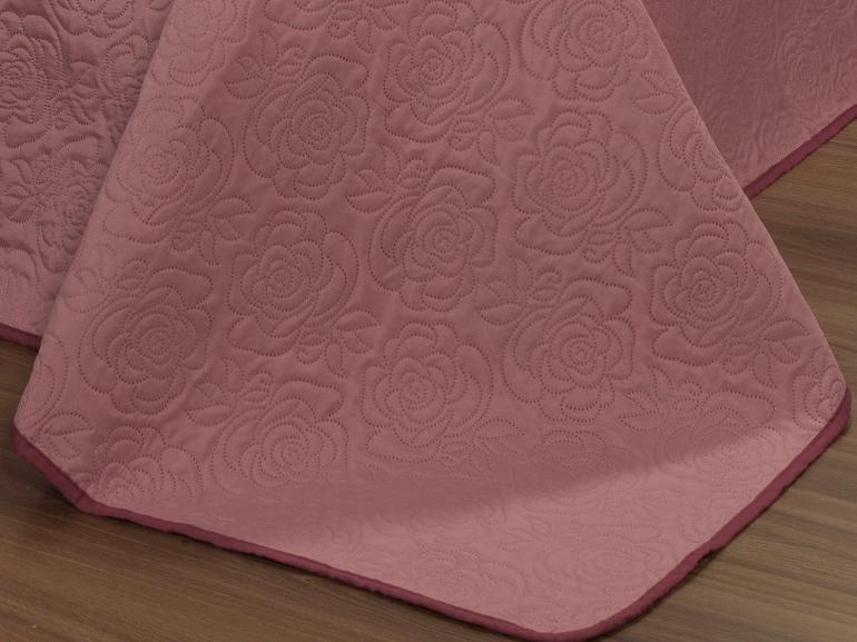 Kit: 1 Cobre-leito Casal Bouti de Microfibra Ultrasonic + 2 Porta-travesseiros - Rosana Rosa Velho - Dui Design