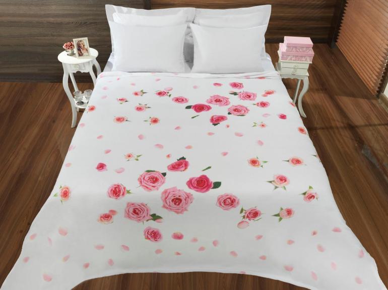 Cobertor Avulso Casal Flanelado com Estampa Digital - Rosas - Dui Design