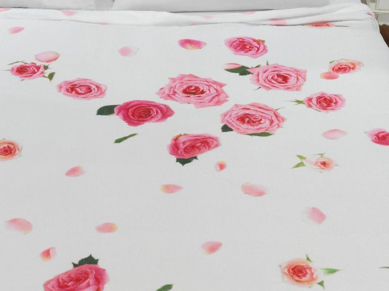 Cobertor Avulso King Flanelado com Estampa Digital - Rosas - Dui Design