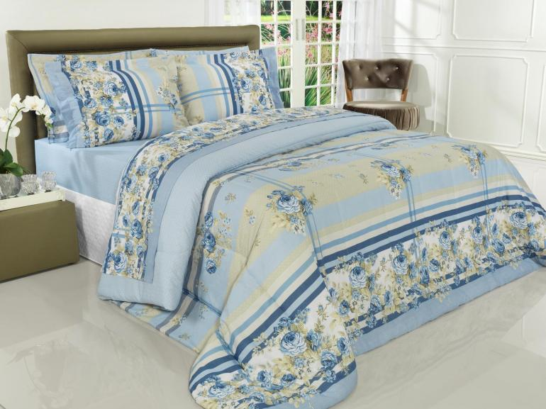 Jogo de Cama Queen Percal 180 fios - Rosemary Azul - Dui Design