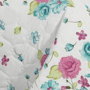 Kit: 1 Cobre-leito Queen + 2 Portas-travesseiro 150 fios - Rosie Rosa e Verde - Teka
