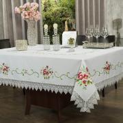 Toalha de Mesa com Bordado Richelieu Quadrada 4 Lugares 160x160cm - Sabine Carmim - Dui Design