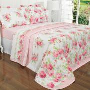 Kit: 1 Cobre-leito Solteiro + 1 Porta-travesseiro 150 fios - Sabrina Rosa - Dui Design