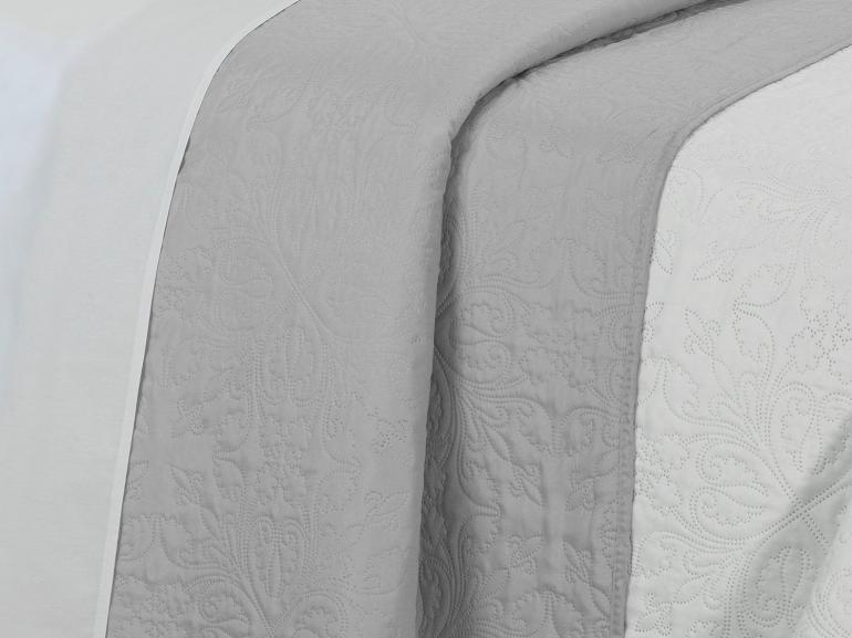 Kit: 1 Cobre-leito Queen Bouti de Microfibra Ultrasonic + 2 Porta-travesseiros - Safira Branco e Cinza - Dui Design