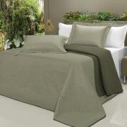 Kit: 1 Cobre-leito Casal Bouti de Microfibra Ultrasonic + 2 Porta-travesseiros - Safira Verde e Oliva - Dui Design