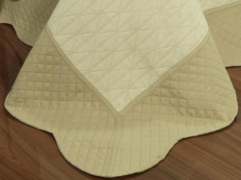 Kit: 1 Cobre-leito Casal Bouti de Microfibra Ultrasonic + 2 Porta-travesseiros - Sakay Caqui - Dui Design