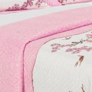 Kit: 1 Cobre-leito Queen Bouti de Microfibra Ultrasonic Estampada + 2 Porta-travesseiros - Sakura Rosa - Dui Design