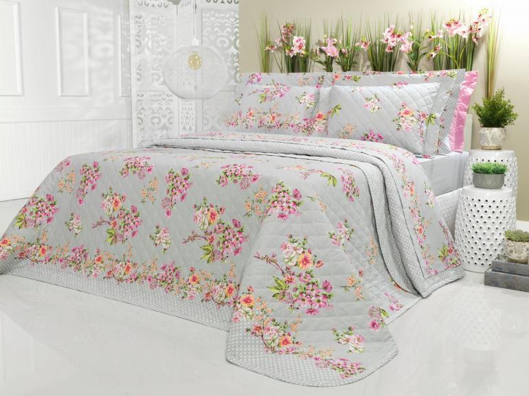 Kit: 1 Cobre-leito Casal + 2 Porta-travesseiros Percal 200 fios - Salome Cinza - Dui Design