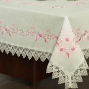 Toalha de Mesa com efeito Linho e com Bordado Richelieu Retangular 8 Lugares 160x270cm - Samanta Rosa - Dui Design