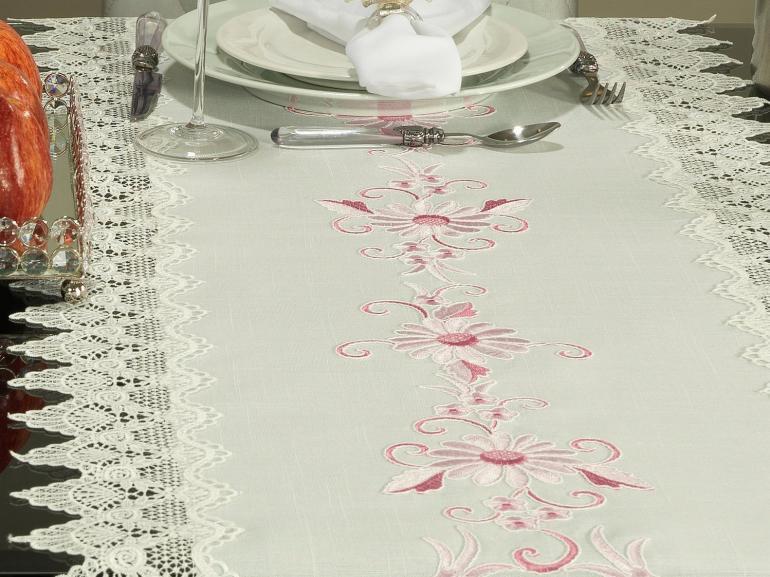 Trilho de Mesa com efeito Linho e com Bordado Richelieu 45x170cm Avulso - Samanta Rosa - Dui Design