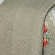 Kit: 1 Cobre-leito Casal Bouti de Microfibra Ultrasonic Estampada + 2 Porta-travesseiros - Samara Taupe - Dui Design