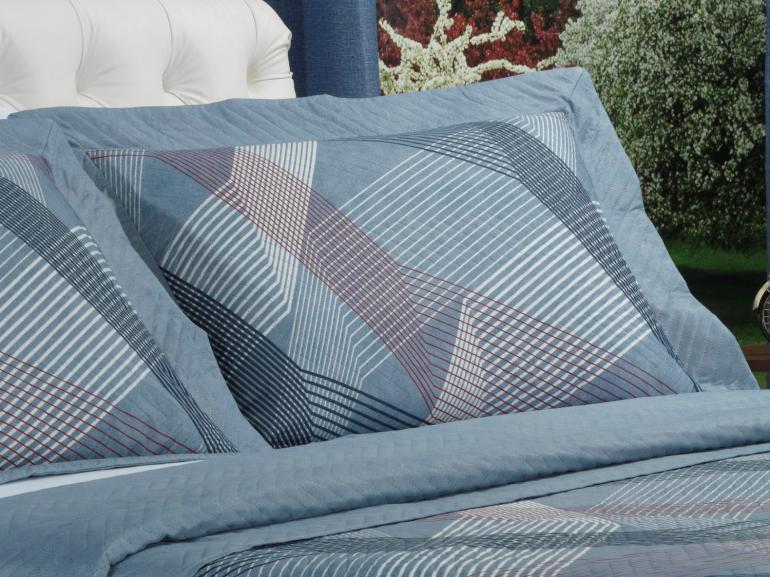 Kit: 1 Cobre-leito Casal Bouti de Microfibra Ultrasonic Estampada + 2 Porta-travesseiros - Sandler Azul - Dui Design