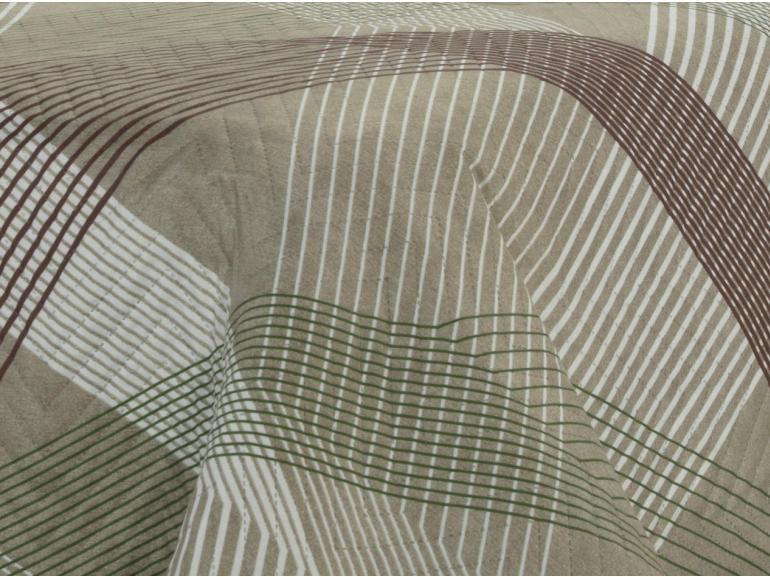 Kit: 1 Cobre-leito Solteiro Bouti de Microfibra Ultrasonic Estampada + 1 Porta-travesseiro - Sandler Castanho - Dui Design