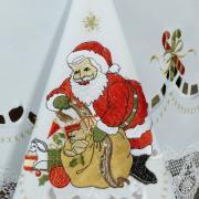 Toalha de Mesa Natal com Bordado Richelieu Retangular 6 Lugares 160x220cm - Santa Claus Branco - Dui Design