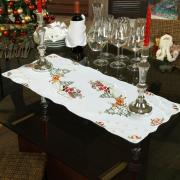 Trilho (Caminho) de Mesa Natal com Bordado Richelieu 40x85cm - Santa Claus Branco - Dui Design