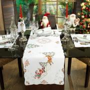 Trilho (Caminho) de Mesa Natal com Bordado Richelieu 45x170cm - Santa Claus Branco - Dui Design