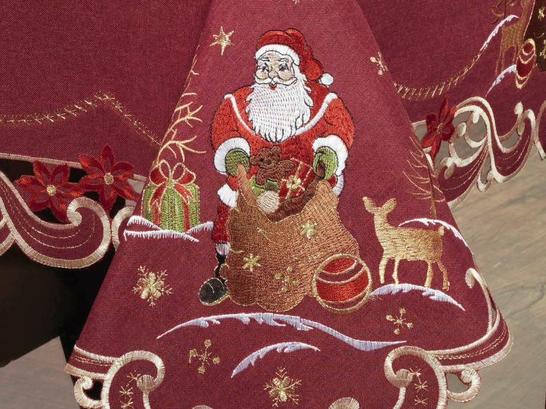 Toalha de Mesa Natal com Bordado Richelieu Retangular 6 Lugares 160x220cm - Santa Claus Vermelho - Dui Design