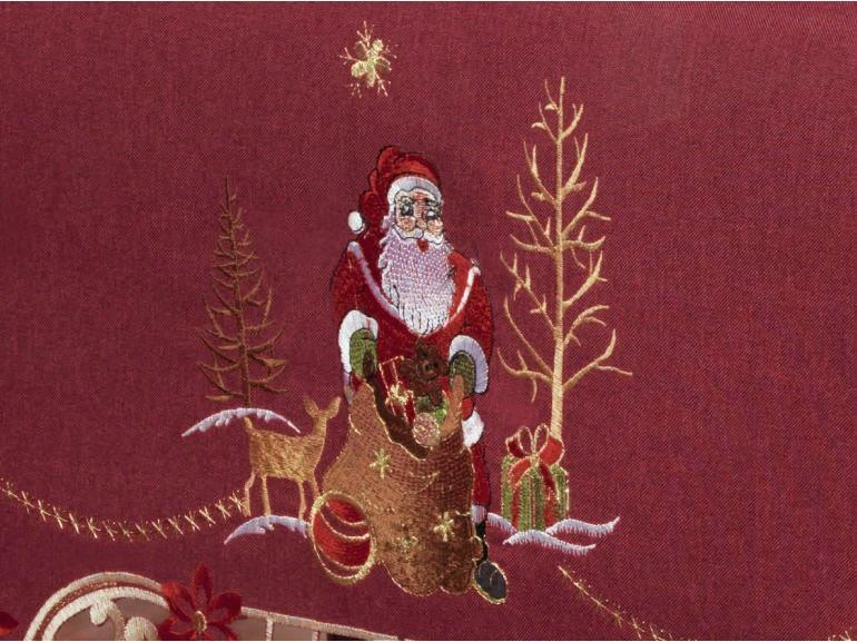 Toalha de Mesa Natal com Bordado Richelieu Retangular 8 Lugares 160x270cm - Santa Claus Vermelho - Dui Design