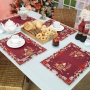 Jogo Americano Natal 4 Lugares (4 peças) com Bordado Richelieu 35x50cm - Santa Claus Vermelho - Dui Design