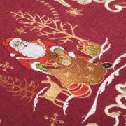 Trilho de Mesa Natal com Bordado Richelieu 40x85cm Avulso - Santa Claus Vermelho - Dui Design