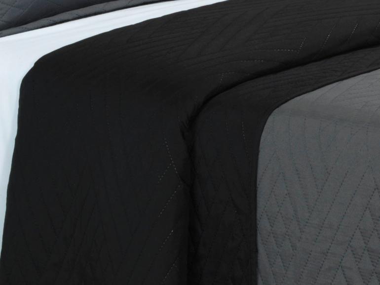 Kit: 1 Cobre-leito Casal Bouti de Microfibra Ultrasonic + 2 Porta-travesseiros - Saulo Grafite - Dui Design