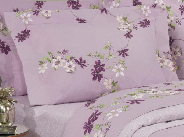 Kit: 1 Cobre-leito Queen + 2 Porta-travesseiros Percal 180 fios - Sayuri Albergine - Dui Design