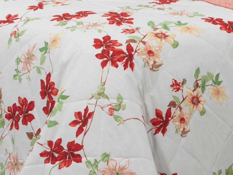 Kit: 1 Cobre-leito Solteiro + 1 Porta-travesseiro Percal 180 fios - Sayuri Vermelho - Dui Design
