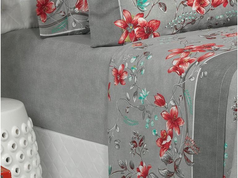 Jogo de Cama Casal 150 fios - Scarlet Cinza - Dui Design