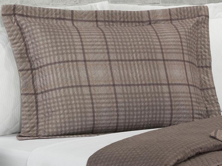 Kit: 1 Cobre-leito Casal Bouti de Microfibra Ultrasonic Estampada + 2 Porta-travesseiros - Scott Taupe - Dui Design