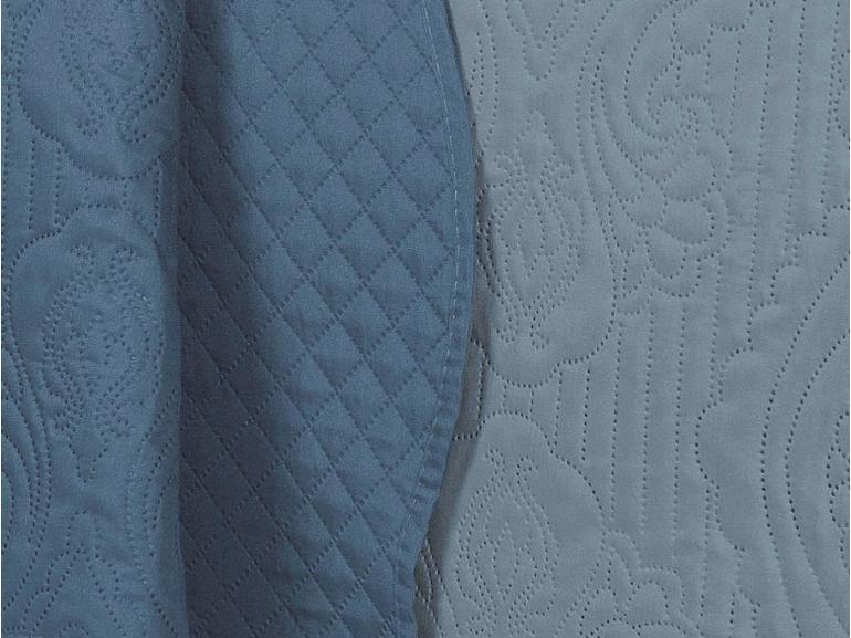 Kit: 1 Cobre-leito Casal Bouti de Microfibra Ultrasonic + 2 Porta-travesseiros - Segovia Azul - Dui Design