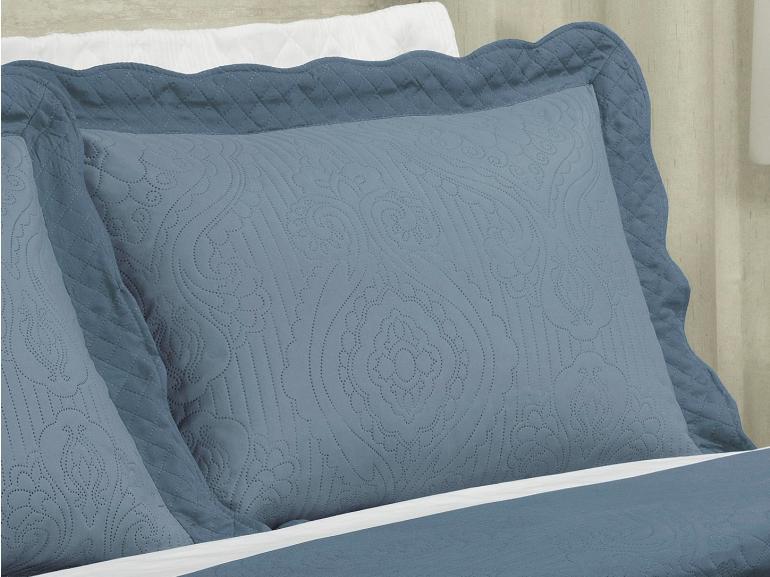 Kit: 1 Cobre-leito Queen Bouti de Microfibra Ultrasonic + 2 Porta-travesseiros - Segovia Azul - Dui Design