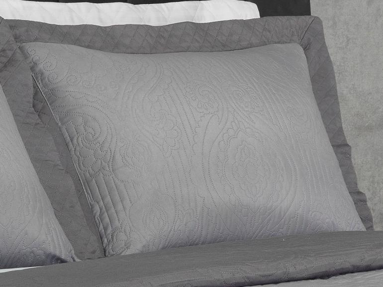 Kit: 1 Cobre-leito Queen Bouti de Microfibra Ultrasonic + 2 Porta-travesseiros - Segovia Cinza e Grafite - Dui Design