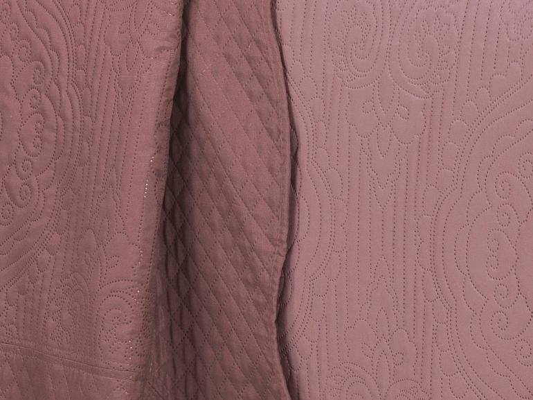 Kit: 1 Cobre-leito King Bouti de Microfibra Ultrasonic + 2 Porta-travesseiros - Segovia Rosa Velho - Dui Design