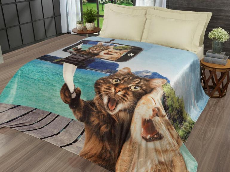 Cobertor Avulso Casal Flanelado com Estampa Digital 300 gramas/m² - Selfie Cats - Dui Design