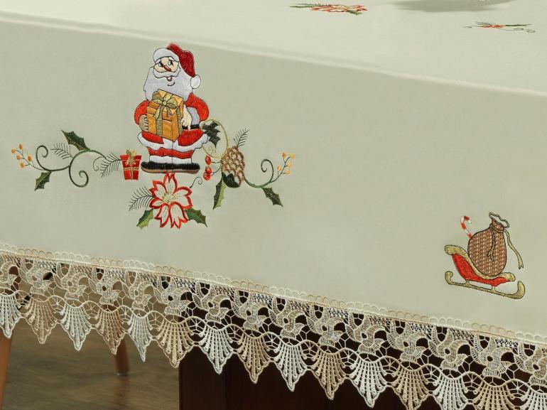 Toalha de Mesa Natal com Bordado Richelieu Quadrada 4 Lugares 160x160cm - Serenata Bege - Dui Design