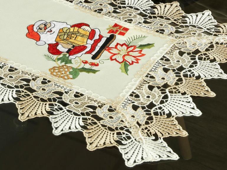 Trilho de Mesa Natal com Bordado Richelieu 40x85cm Avulso - Serenata Bege - Dui Design