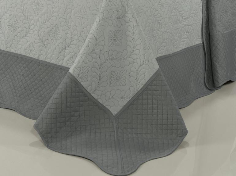 Kit: 1 Cobre-leito Casal Bouti de Microfibra Ultrasonic + 2 Porta-travesseiros - Sesamo Cinza - Dui Design