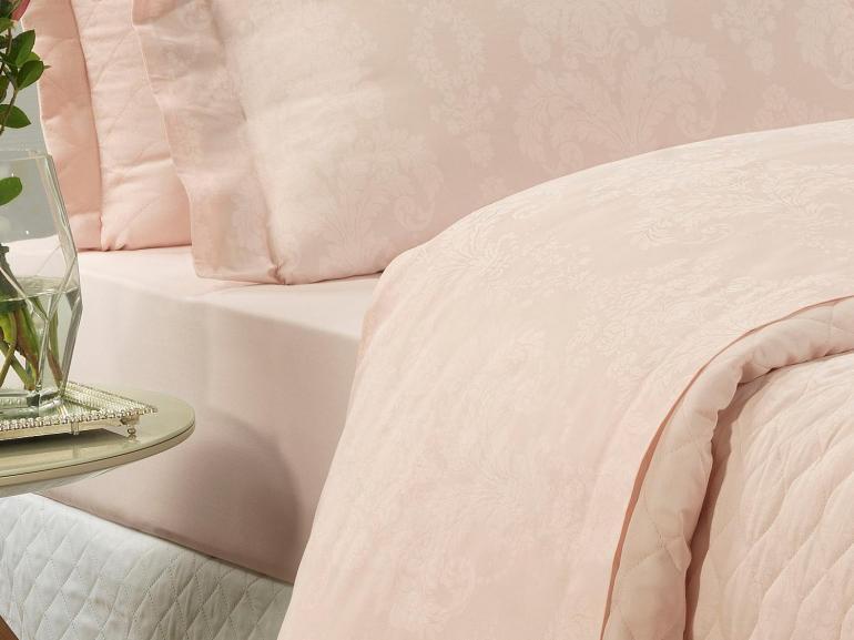 Jogo de Cama Casal Cetim 300 fios Jacquard - Sevilha Rosa - Dui Design