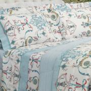 Jogo de Cama Casal Percal 200 fios - Shanti Azul - Dui Design