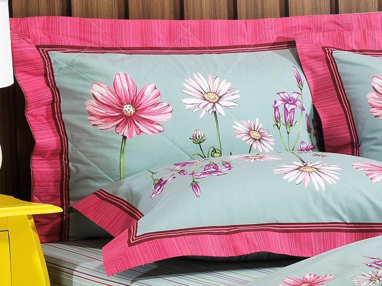 Kit: 1 Cobre-leito Solteiro + 1 Porta-travesseiro Percal 200 fios 100% Algodão - Sheila Azul Esverdeado - Dui Design