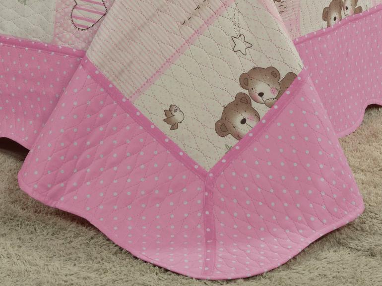 Kit: 1 Cobre-leito Solteiro Kids Bouti de Microfibra PatchWork Ultrasonic + 1 Porta-travesseiro - Sheryl Rosa - Dui Design