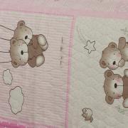 Kit: 1 Cobre-leito Casal Kids Bouti de Microfibra PatchWork Ultrasonic + 2 Porta-travesseiros - Sheryl Rosa - Dui Design