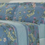 Kit: 1 Cobre-leito King + 2 Porta-travesseiros 180 fios - Shirley Azul - Dui Design