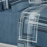 Jogo de Cama Queen 150 fios - Sidney Azul - Dui Design