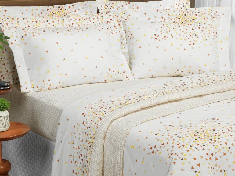 Kit: 1 Cobre-leito Casal + 2 Porta-travesseiros 150 fios - Sidney Brike - Dui Design