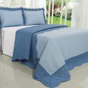Kit: 1 Cobre-leito Queen Bouti de Microfibra Ultrasonic + 2 Porta-travesseiros - Sierra Azul - Dui Design