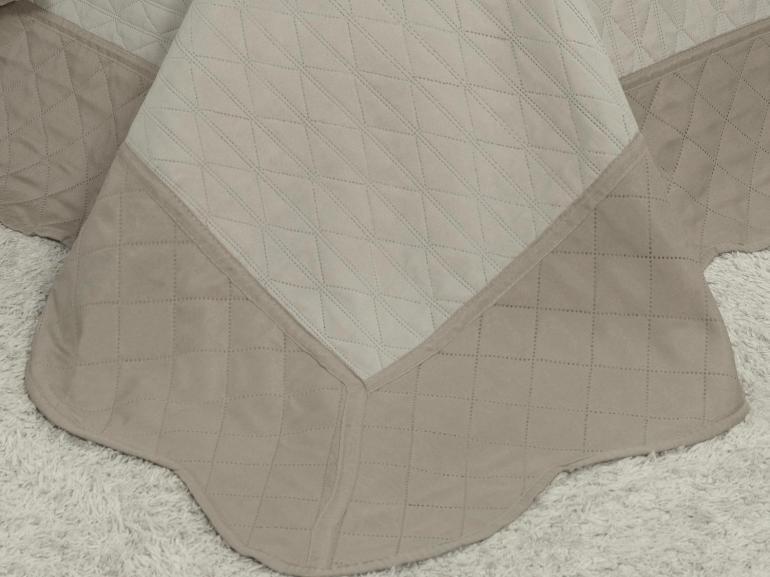 Kit: 1 Cobre-leito Casal Bouti de Microfibra Ultrasonic + 2 Porta-travesseiros - Sierra Bege e Stone - Dui Design