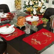 Jogo Americano Natal 4 Lugares (4 peças) com Bordado Richelieu 35x50cm - Sinos de Natal Vermelho - Dui Design